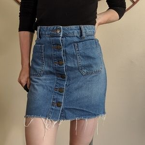 BDG button up denim skirt raw edge size small